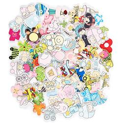 Nursery Kids Wall Decals - 100-Piece Baby Themed Peel and St