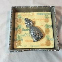NWOT Lenox Napkin Holder with Pineapple Weight Pewter Alloy