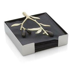 Michael Aram Olive Branch Cocktail Napkin Holder, Gold