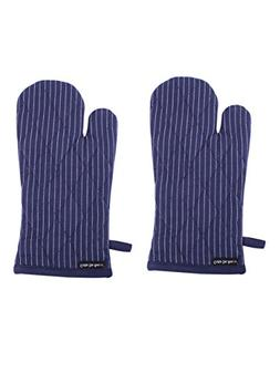 Set of 2 Oven Mitts, Blue Pinstripe, 100% Cotton, 7 x 13, He