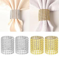 Pack 50/100/200 Wedding Diamond Rhinestone Napkin Rings Mesh