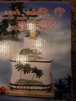 Palm Tree Wooden Paper Towel Holder W/Ceramic Napkin Holder