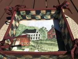 "Pat Fischer Folk Art Village Basket/Napkin Holder 8""x8"""