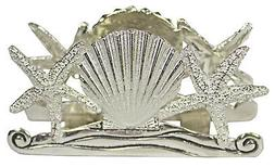 Pewter Starfish Scallop Seashell Napkin Envelope Holder