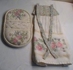 Tea Rose Pfaltzgraff Cloth Tie Towel and Pot Holder