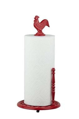 Hds Trading PH44171 Cast Iron Rooster Paper Towel, Red