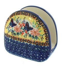 Blue Rose Polish Pottery Blue Butterfly Napkin Holder