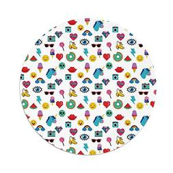 Polyester Round Tablecloth,Emoji,Pop Art Style Cartoon Icons