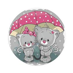 iPrint Polyester Round Tablecloth,Cartoon,Partner Kittens wi