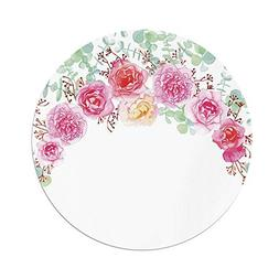 Polyester Round Tablecloth,Shabby Chic Decor,Floral Wreath i