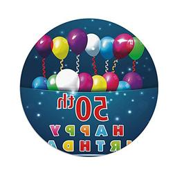 iPrint Polyester Round Tablecloth,50th Birthday Decorations,
