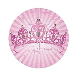 Polyester Round Tablecloth,Queen,Childhood Theme Pink Heart