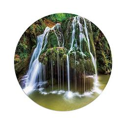 iPrint Polyester Round Tablecloth,Waterfall Decor,Water Fall