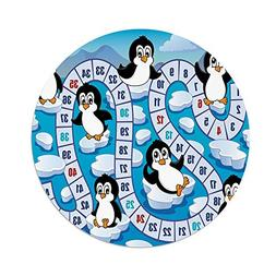 iPrint Polyester Round Tablecloth,Board Game,Cute Funny Peng