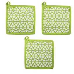 """Set of 3 Pot Holders, 100% Cotton of Size 8""""X8 Inch, Eco-F"""