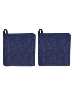 Set of 2 Potholders, Denim Blue, 100% Cotton, 8 x 8, Heat Re