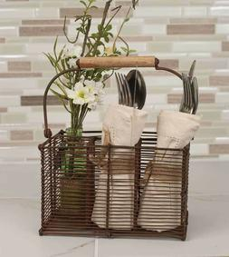 Primitive new Basket SILVERWARE and Napkin Holder in Rusty T