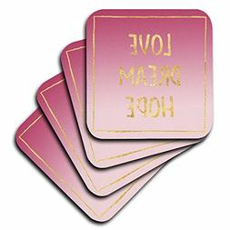 3dRose PS Inspiration - Image of Pink Ombre Gold Glitz Squar