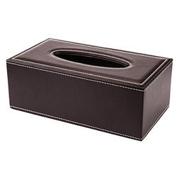 PU Leather Facial Tissue Napkin Paper Box Holder Tray Pumpin