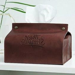 PU Leather Tissue Box Case Cover Napkin Paper Holder Storage