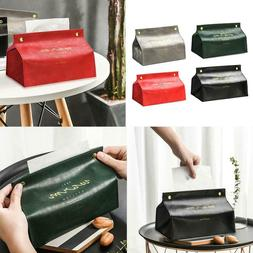 PU Leather Tissue Box Cover Home Car Napkin Case Holder Stor