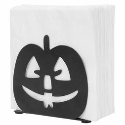 MyGift Pumpkin Jack-O-Lantern Design Metal Napkin Holder, Bl