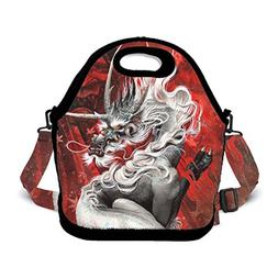 Hot Red Fury Chinese Dragon Neoprene Lunch Bag Insulated Lun