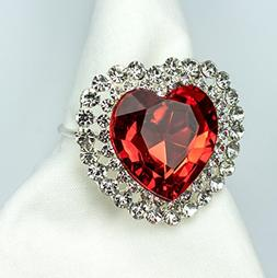Red Heart Napkin Rings Sparkling for Valentines Day, Dinners