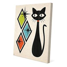 Retro Cat With Diamonds Green Blue And Orange: Mid-Century R