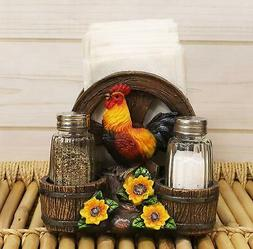 Rooster Chicken by Sunflowers Dinner Napkin and Salt Pepper