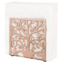 Rose Gold-Tone Metal Tree & Bird Design Tabletop Napkin Hold