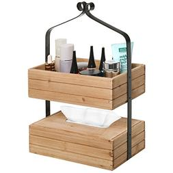 MyGift Rustic Style 2-Tier Natural Wood & Black Metal Home S