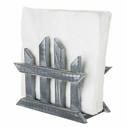 MyGift Rustic Dark Gray Wood Fence Design Napkin Holder