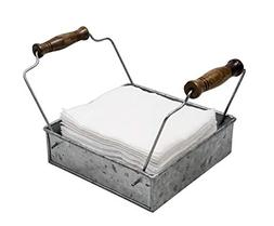 Rustic Napkin Holder with Dual Wooden Handles  Country Style