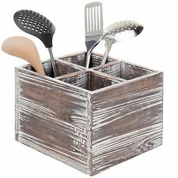 MyGift Rustic Torched Wood 4-Compartment Utensil Holder