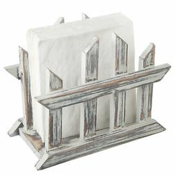 MyGift Rustic Torched Wood Fence Design Napkin Holder