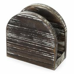 rustic torched wood round edge napkin holder
