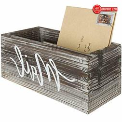 MyGift Rustic Torched Wood Tabletop Decorative Mail Holder B
