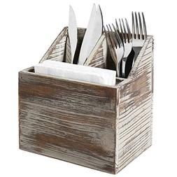 Rustic Torched Wood Tabletop Flatware, Utensil Caddy, Cutler