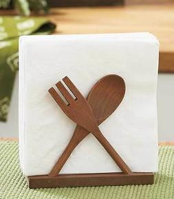 Rustic Utensil Napkin Holder Wooden Fork Spoon Shaped Kitche