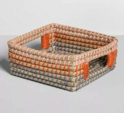 "Seagrass Woven Napkin Holder 7.25"" x 7.25"" Brown/Orange - Op"