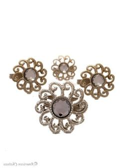 Set 4 Flower Clear Rhinestones Ring & Silver Metal Napkin Ri