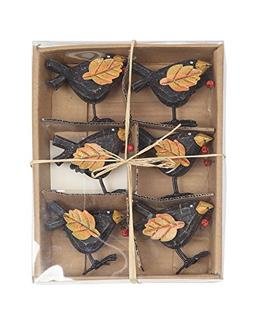Set of 6 Metal and Wood Autumn Crow Table Place Card Holders