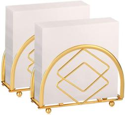 Set Of 2 Modern Paper Napkin Holder 5x3.5 Inch Gold Silver D