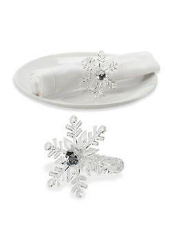 """Set of 2 Pieces 3"""" Acrylic Clear Snowflake Holder Winter Dec"""