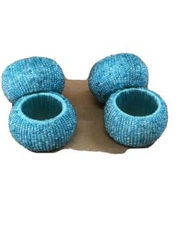 Set Of 4 Heritage Collection Turquoise Blue Beads Napkin Hol