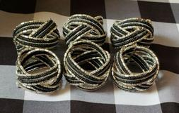 Set of 6 Black And Silver Beaded Napkin Ring Holders