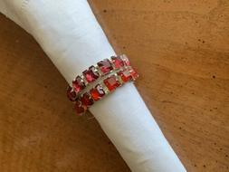 Pottery Barn Set of 8 Ruby Color Jeweled Napkin Rings Holder
