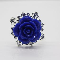 AngHui ShiPin 10pcs Blue Rose Decorative Silver Napkin Ring