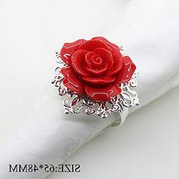 AngHui ShiPin 10pcs Red Rose Decorative Silver Napkin Ring S